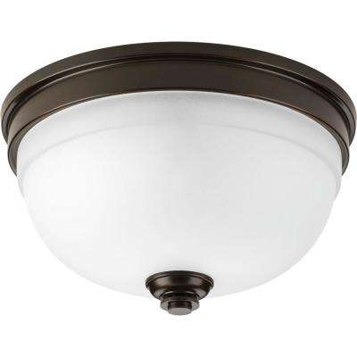 Topsail Collection 2-Light Antique Bronze Flush Mount with Parchment-Finish Glass