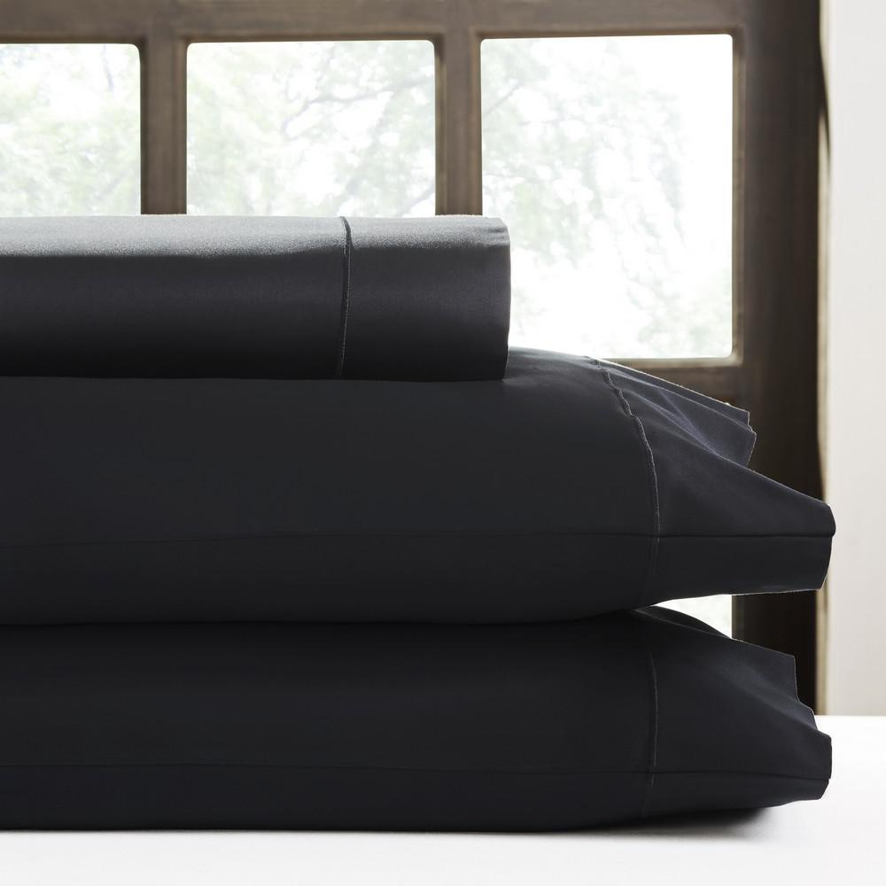 Black T620 Solid Sateen Queen Sheet Set