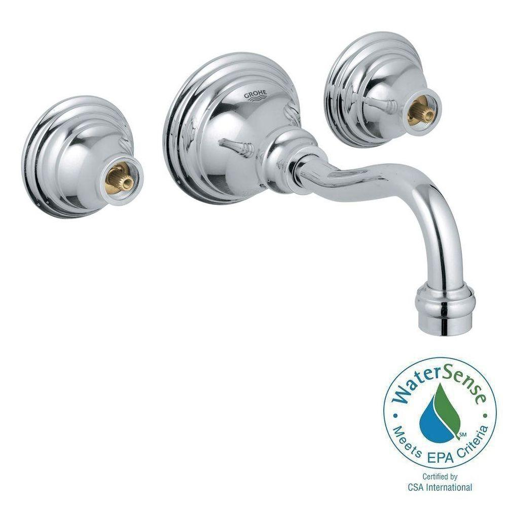 GROHE Bridgeford 2-Handle Wall Mount Bathroom Faucet in StarLight Chrome (Handles Sold Separately)