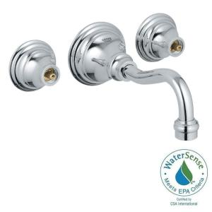 bridgeford 2handle wall mount bathroom faucet in starlight chrome handles sold separately - Wall Mount Bathroom Faucet