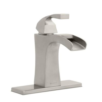 Leary Curve Single Hole Single-Handle Bathroom Faucet in Brushed Nickel