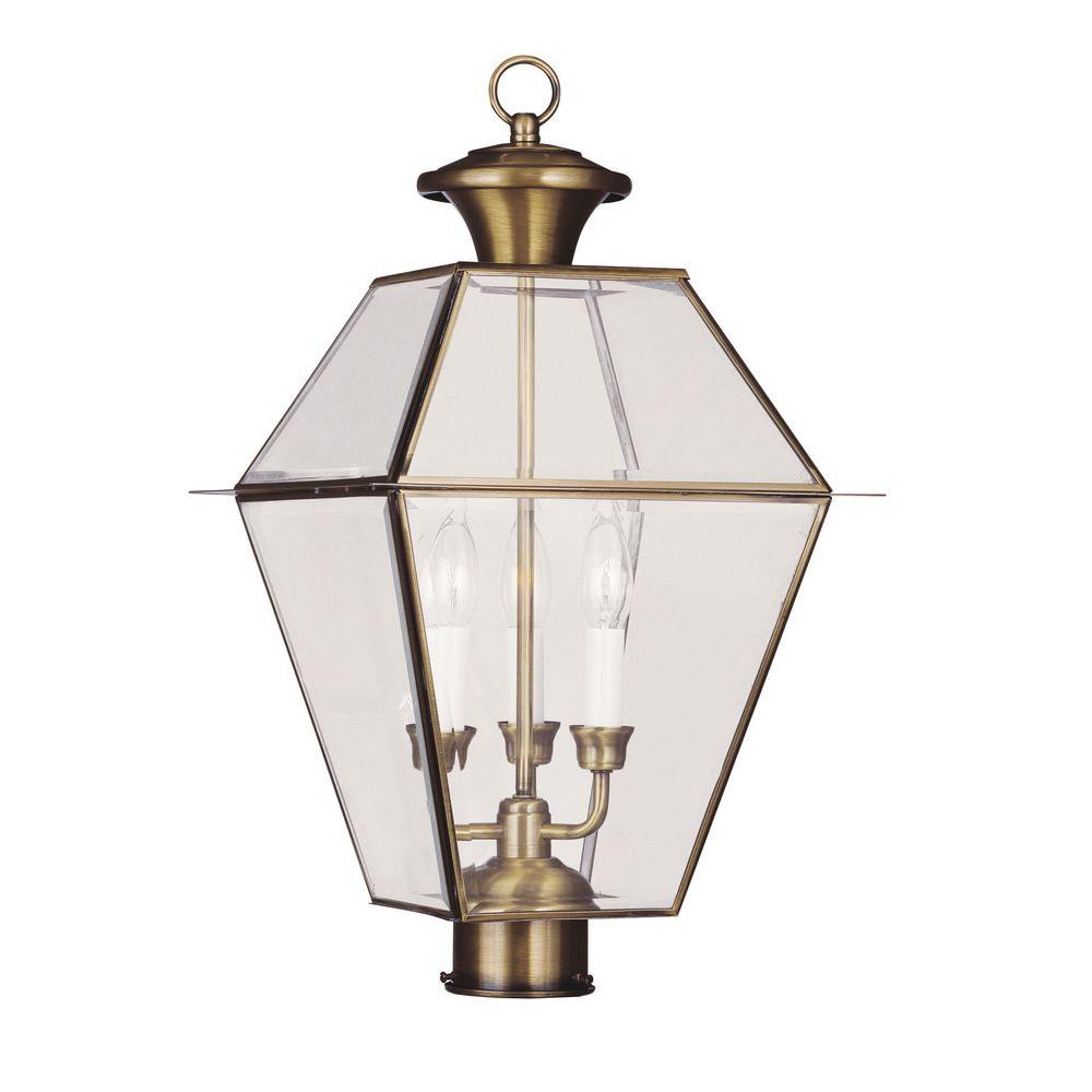 Livex Lighting 3-Light Outdoor Antique Brass Post Head with Clear Beveled Glass
