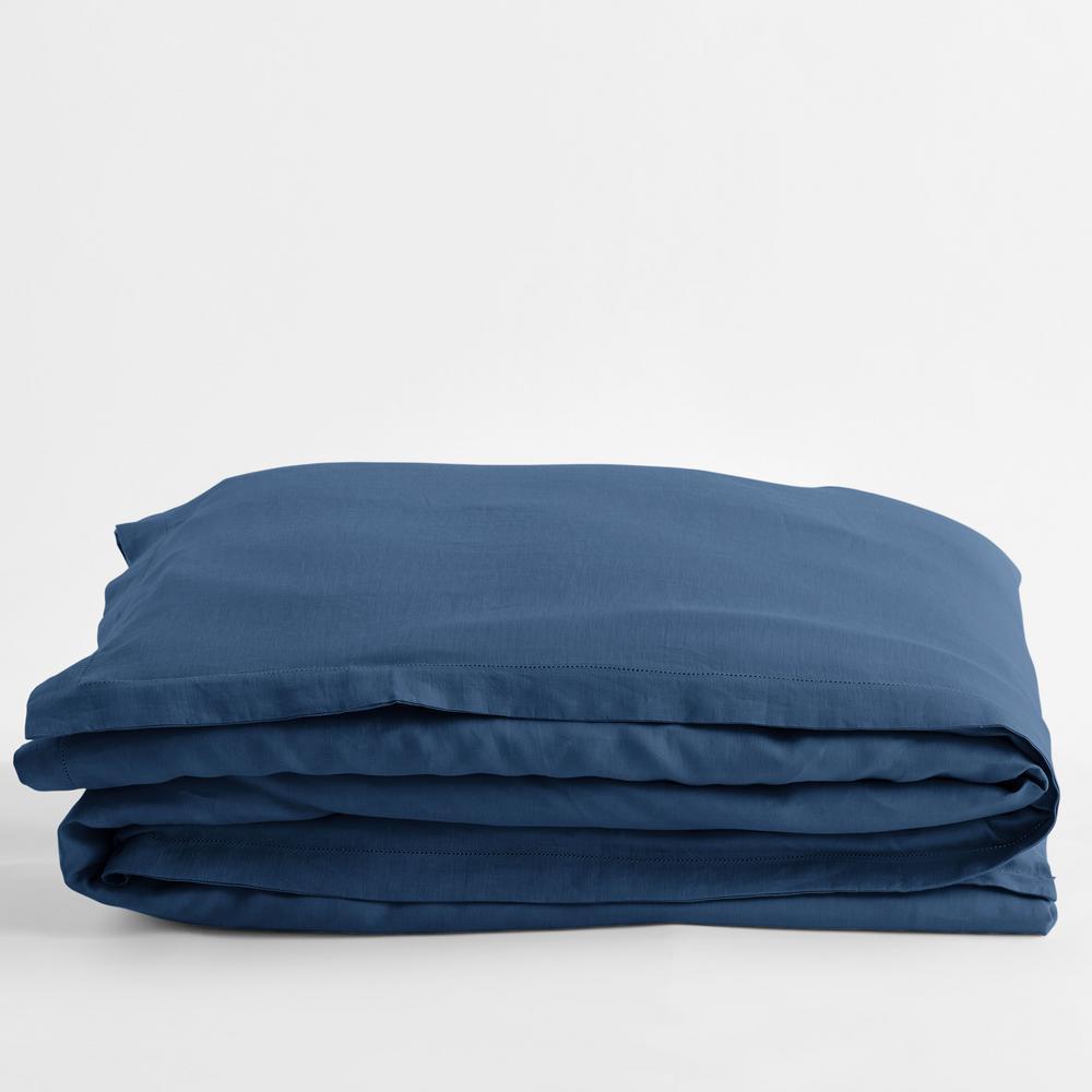 Solid Washed Blue Linen King Duvet Cover