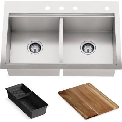 Lyric Dual Mount Workstation Stainless Steel 33 in 4-Hole Double Bowl Kitchen Sink with Integrated Ledge and Accessories