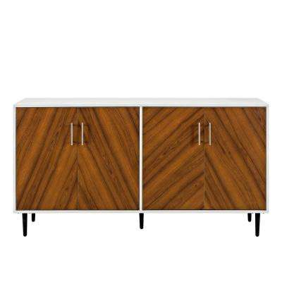 58 in. White/Teak Modern Bookmatch Buffet