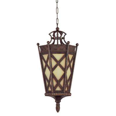 4-Light Aged Iron and Resin Shade Chandelier