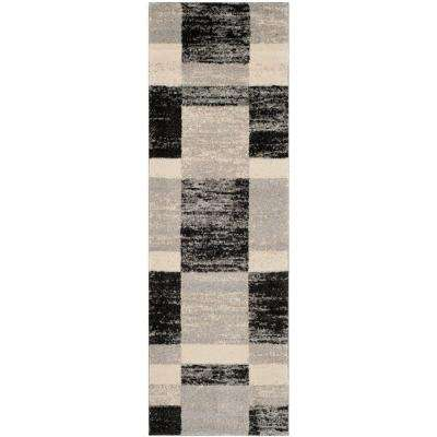Retro Black/Light Grey 2 ft. x 11 ft. Runner Rug