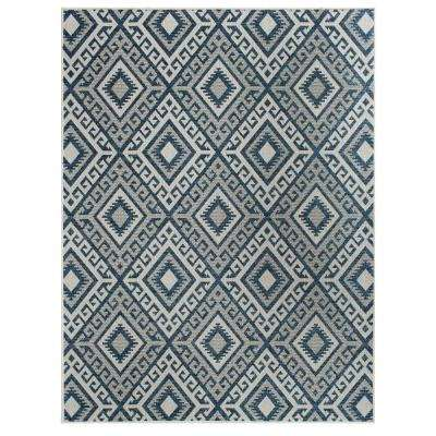 Nantucket Ryker Ecru/Cobalt 5 ft. x 7 ft. Rectangle Indoor/Outdoor Area Rug