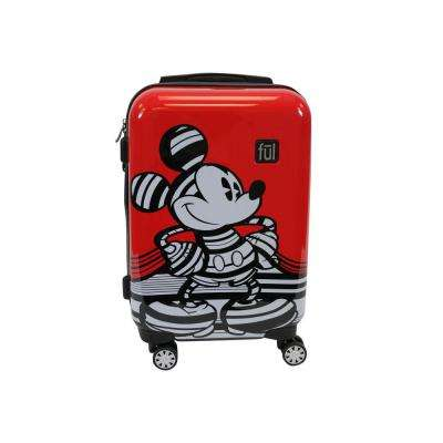 Striped Mickey Mouse 21 in. Red Hard Sided Luggage