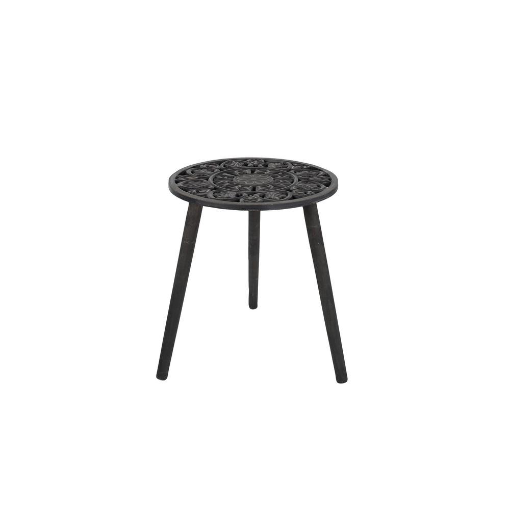 Litton Lane Dark Brown Carved Wood Round Accent Table 98792