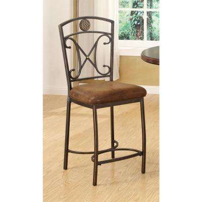 Tavio 24 in. Antique Bronze Cushioned Bar Stool (Set of 2)