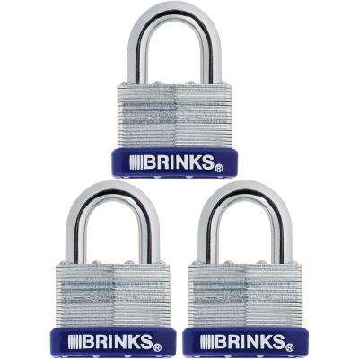 2 in. (50 mm) Laminated Steel Padlock with Boron Shackle (3-Pack)