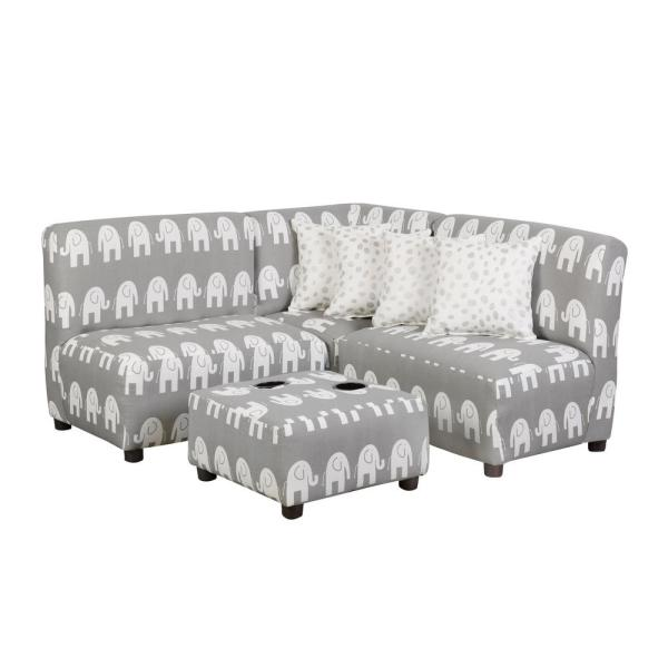 Jack Juvenile Kids Gray and White Upholstered Sectional Sofa Set 4010-P101-P124