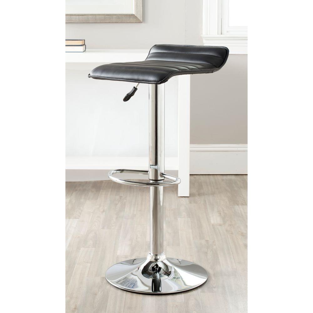 Safavieh Kemonti Adjustable Height Chrome Swivel Cushioned Bar Stool FOX7518B
