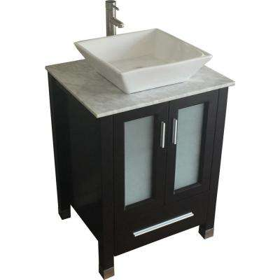 Tanya 24 in. Vanity in Espresso with Marble Vanity Top in White Carrara and Mirror
