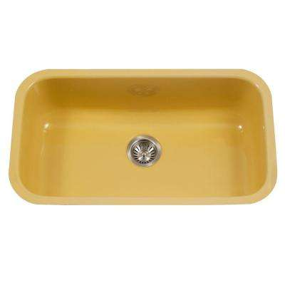 Porcela Series Undermount Porcelain Enamel Steel 31 in. Large Single Bowl Kitchen Sink in Lemon