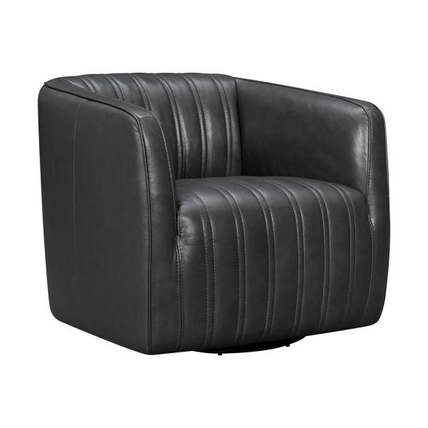 Aries Pewter Leather Swivel Barrel Chair