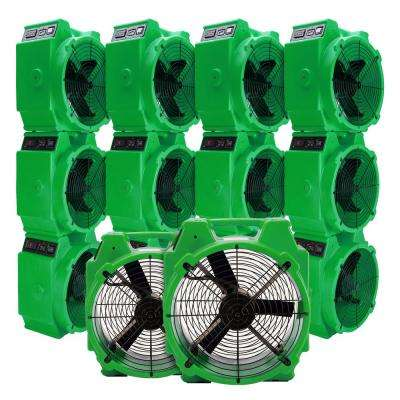 1/4 HP Polar Axial Blower Fan High Velocity Air Mover for Water Damage Restoration in Green