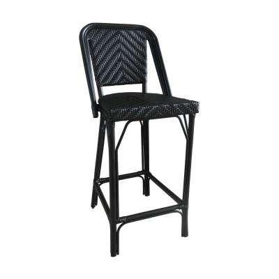 Black Aluminum and Black Plastic Wicker Stackable Bistro Bar Commercial Grade Outdoor Dining Chair