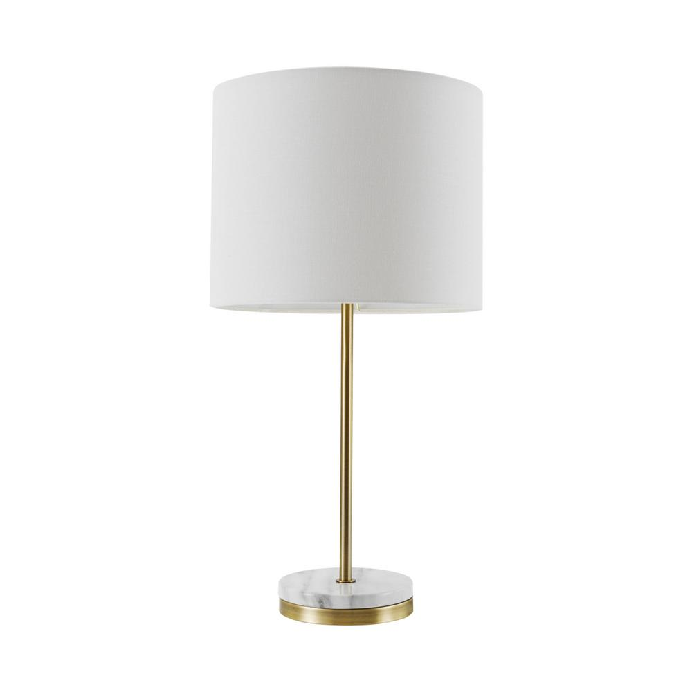 Globe Electric Versailles 19 In Soft Gold Table Lamp With Faux Marble Accent