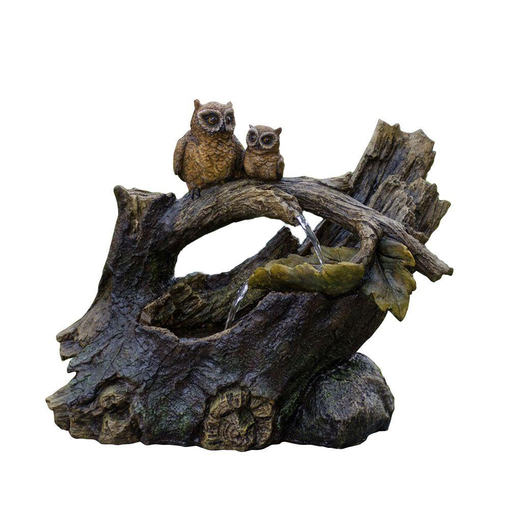 Tree Trunk and Owls Water Fountain, Gray