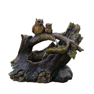 Tree Trunk and Owls Water Fountain