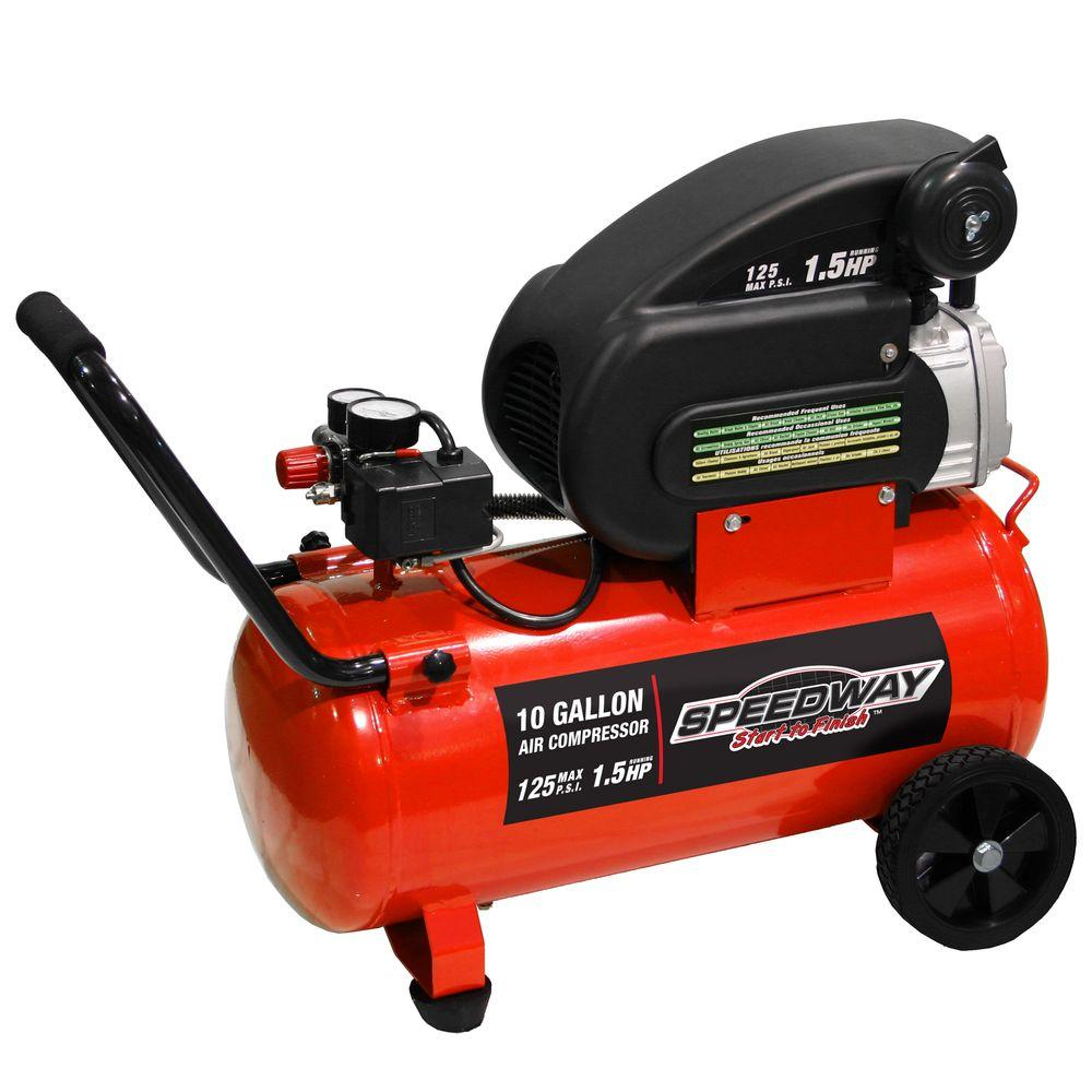 SpeedWay 10 Gal. Portable Electric Air Compressor with Pn...