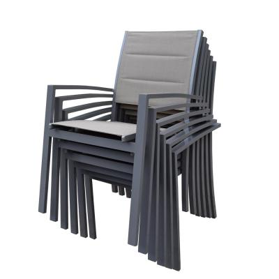 Padded Sling Aluminum Outdoor Dining Chair 6-Pack