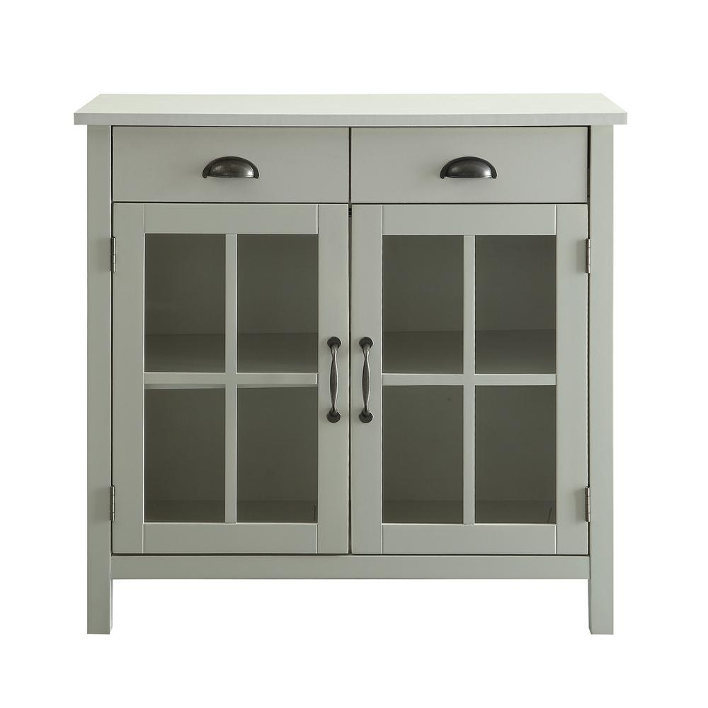 Olivia White Accent Cabinet, 2-Glass Doors and 2-Drawers
