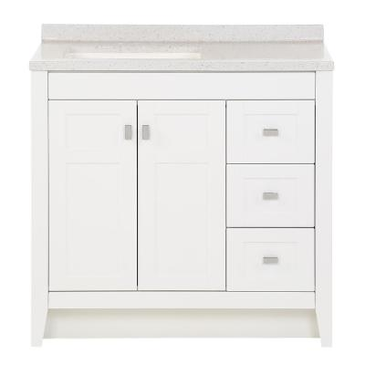 Bladen 36.5 in. W x 18.75 in. D Bath Vanity in White with Solid Surface Vanity Top in Polar Gray with White Sink