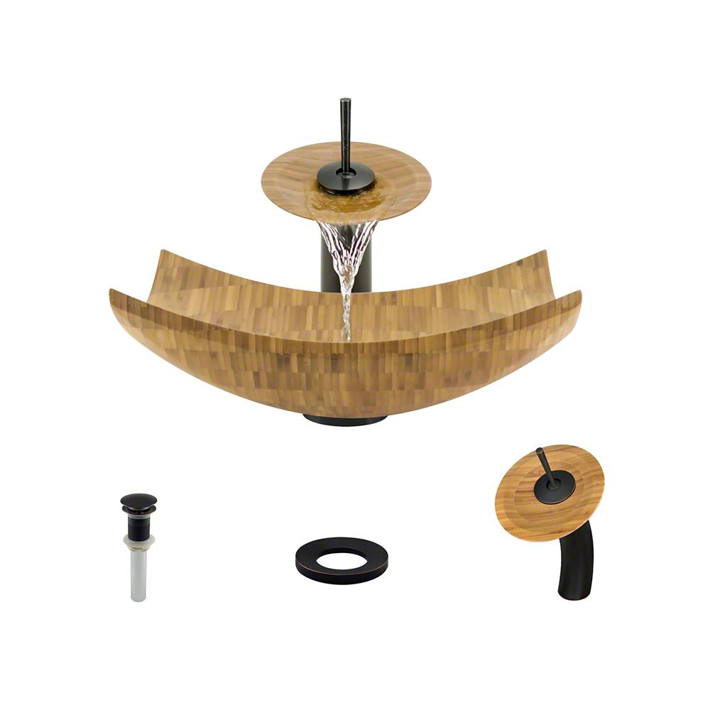 MR Direct Vessel Sink In Bamboo With Waterfall Faucet And Pop Up Drain In  Antique