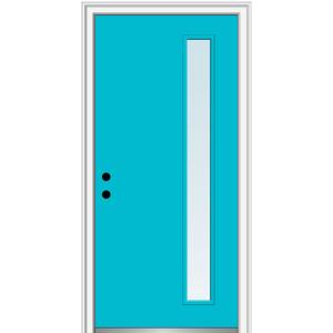 36 in. x 80 in. Viola Low-E Glass Right-Hand 1-Lite Clear Midcentury Painted Fiberglass Smooth Prehung Front Door