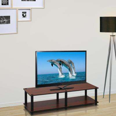 Just No Tools 41 in. Dark Cherry Particle Board TV Console Fits TVs Up to 40 in. with Open Storage