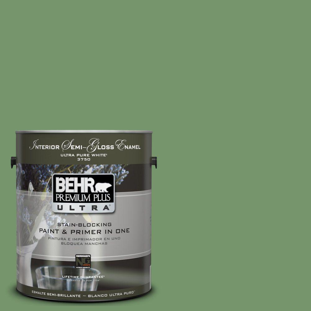 BEHR Premium Plus Ultra 1-gal. #UL210-16 Botanical Green Interior Semi-Gloss Enamel Paint