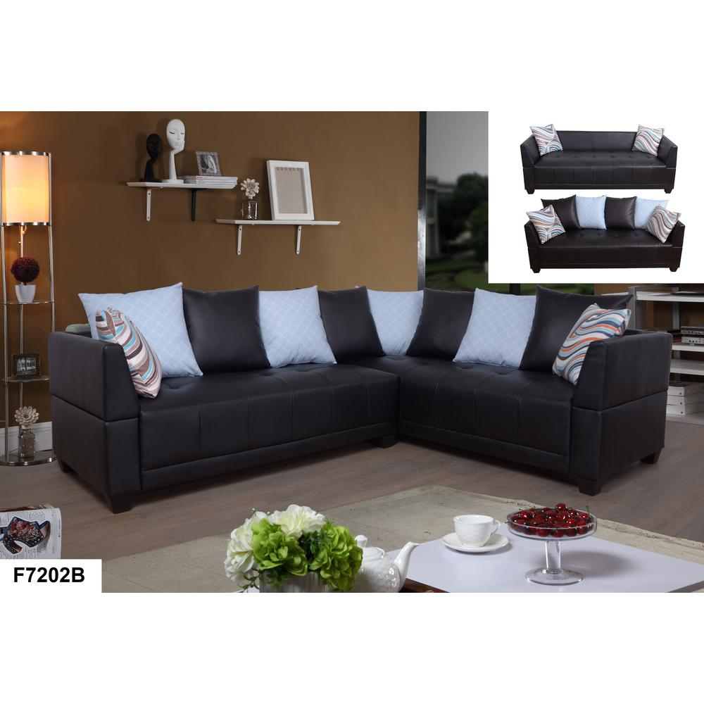 Brown Faux Leather Left Sectional Sofa Set (2-Piece ...