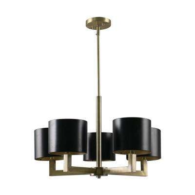 5-Light Black and Gold Chandelier with Metal Shades