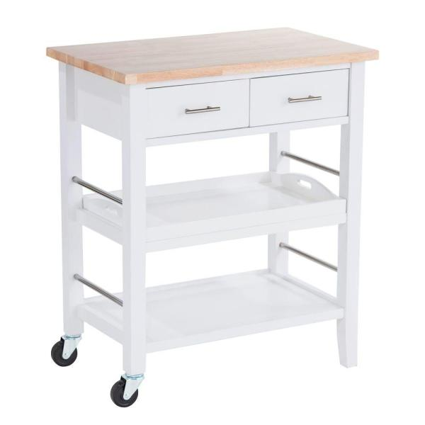 TRINITY White Kitchen Cart With Drawers & Pull-Out Tray