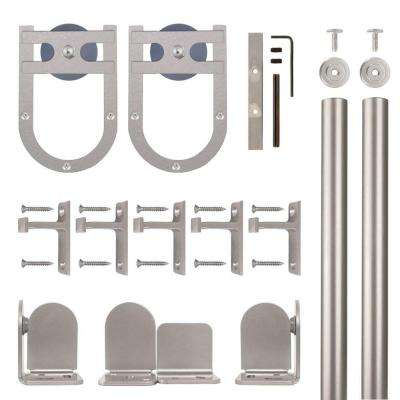 Horseshoe Satin Nickel Rolling Door Hardware Kit for 1-1/2 in. to 2-1/4 in. Door