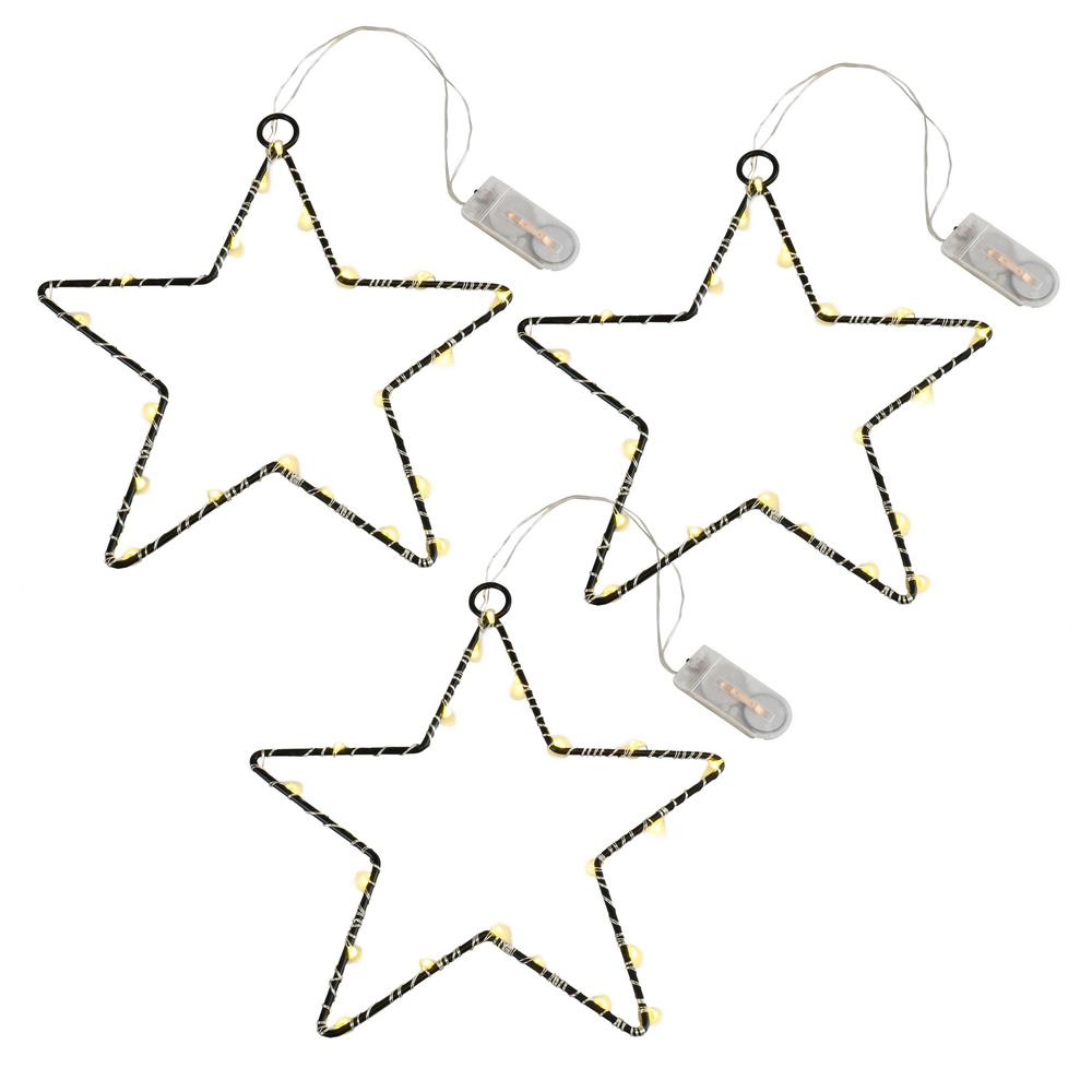 Lumabase Battery Operated Led Lighted Metal Stars Set Of 3 67903 The Home Depot