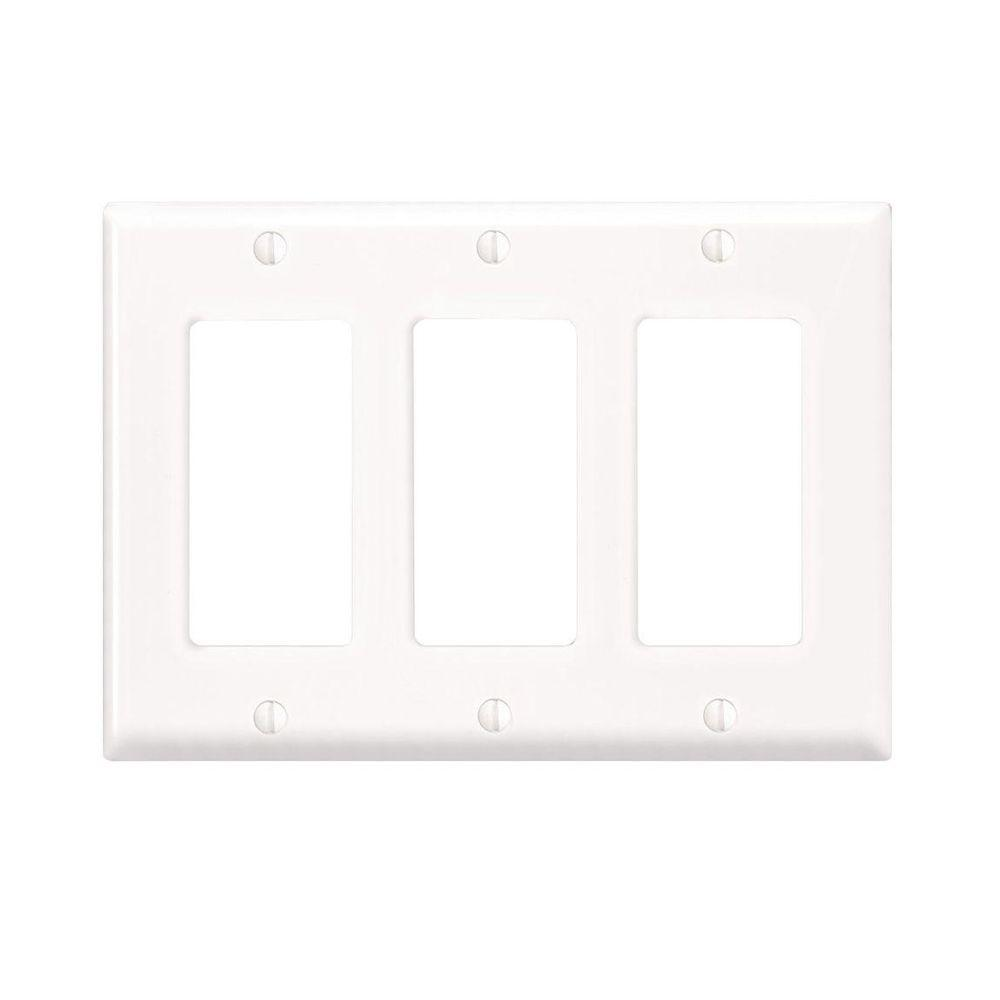 Leviton Decora 3 Gang Wall Plate White R52 80411 00w The Home Depot