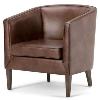 Mitchum Contemporary 31 in. Wide Tub Arm Chair in Distressed Brown Bonded Leather