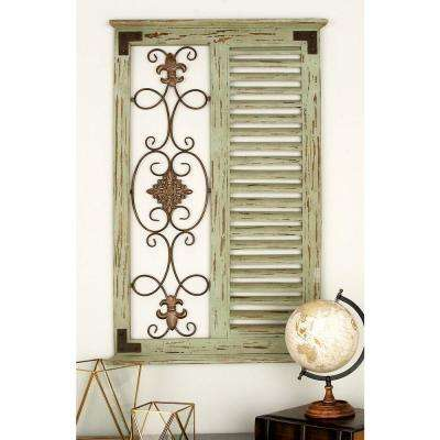 26 in. x 40 in. 4 French-Inspired Grey Iron and Wood Louver and Fleur de Lis Wall Panel