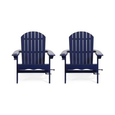Lissette Navy Blue Foldable Wood Adirondack Chair (2-Pack)
