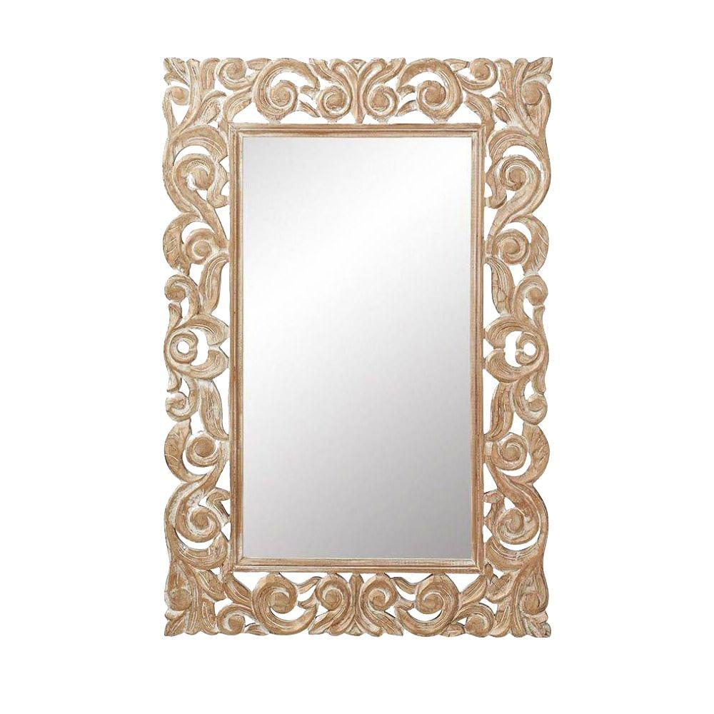 Home decorators collection padma mango 36 in h x 24 in w gold wash wood carved framed mirror Home decorators collection mirrors