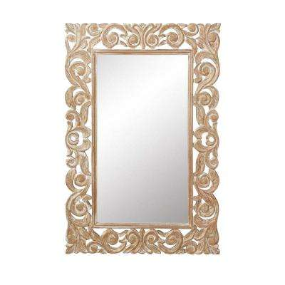 Padma Mango 36 in. H x 24 in. W Gold Wash Wood Carved Framed Mirror