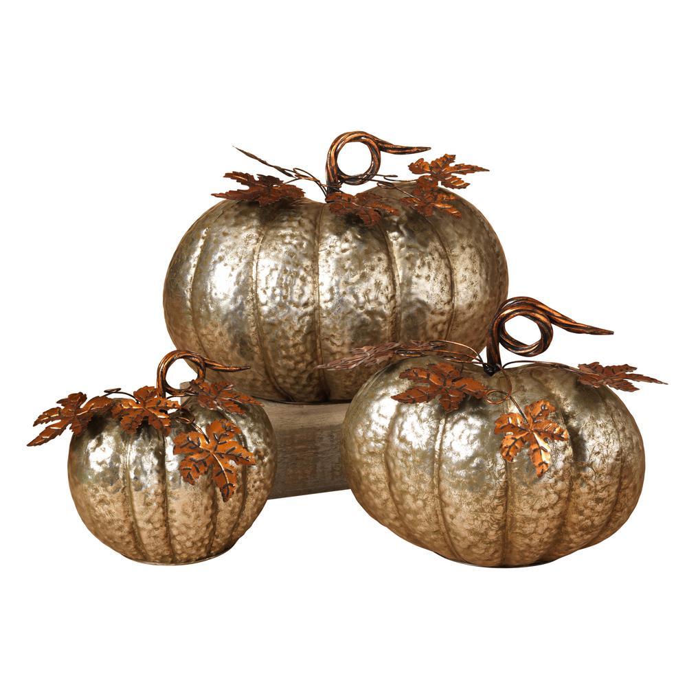 15 in. Harvest Tabletop Pumpkins (Set of 3)