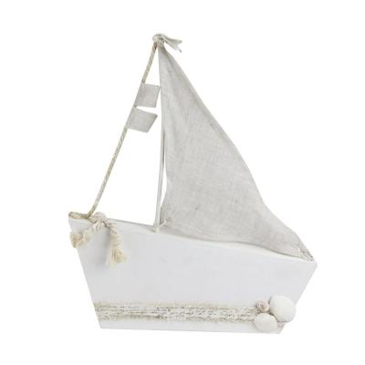 11.5 in. White and Tan Cape Cod Inspired Ship with Sails Table Top Decoration