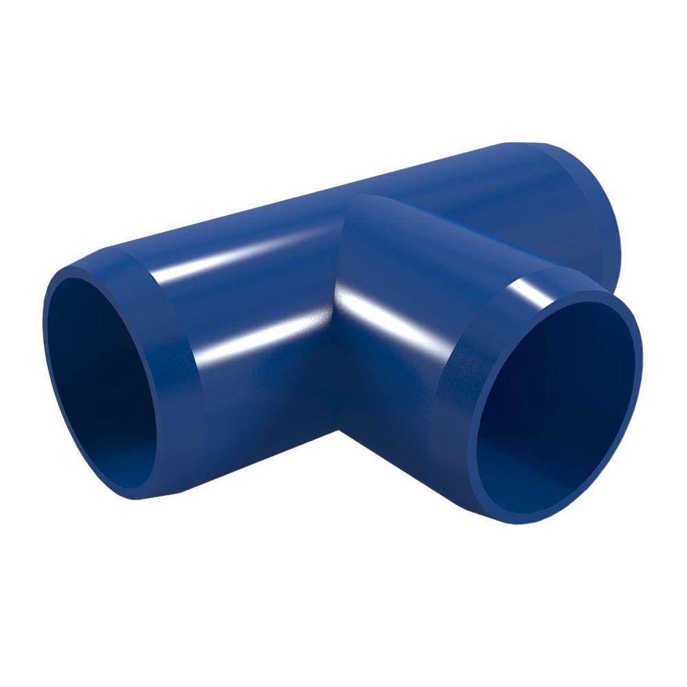Formufit 1 in. Furniture Grade PVC Tee in Blue (4-Pack)