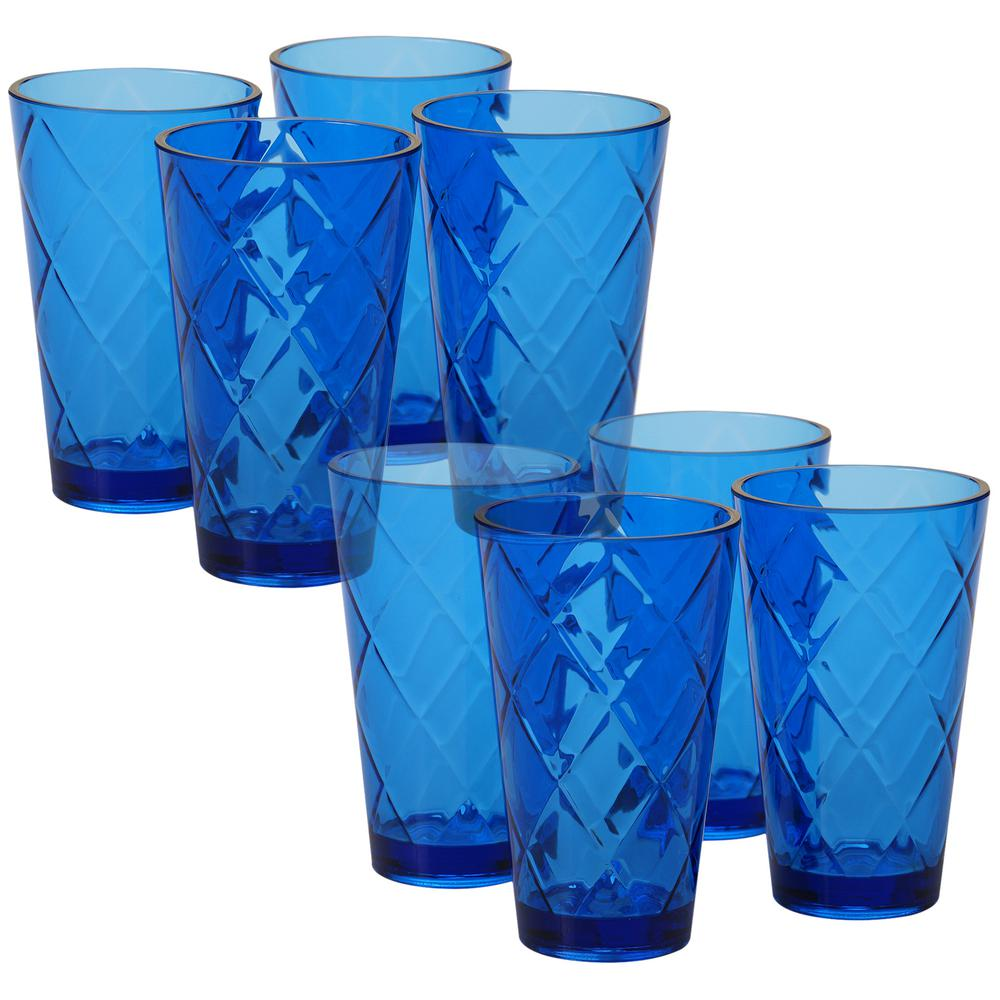 20 oz. 8-Piece Cobalt Blue Acrylic Ice Tea Glass