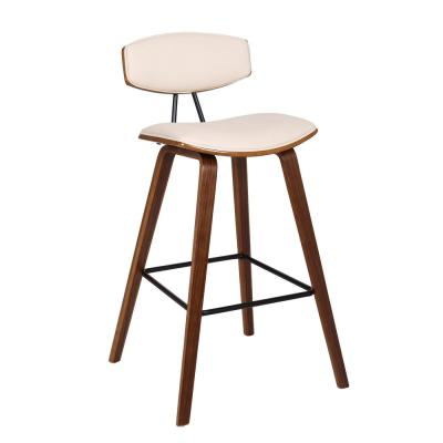 Fox 30 in. Mid-Century Bar Height Bar Stool in Cream Faux Leather with Walnut Wood
